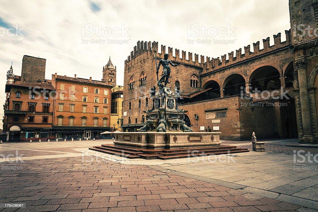 Piazza del Nettuno in Bologna, Italy Landmark stock photo