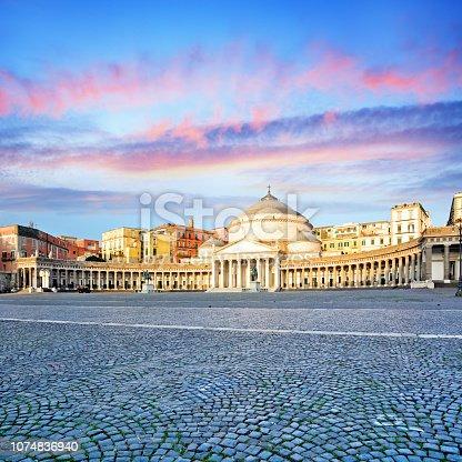 Piazza del Plebiscito in Naples at sunrise, Italy. Composite photo