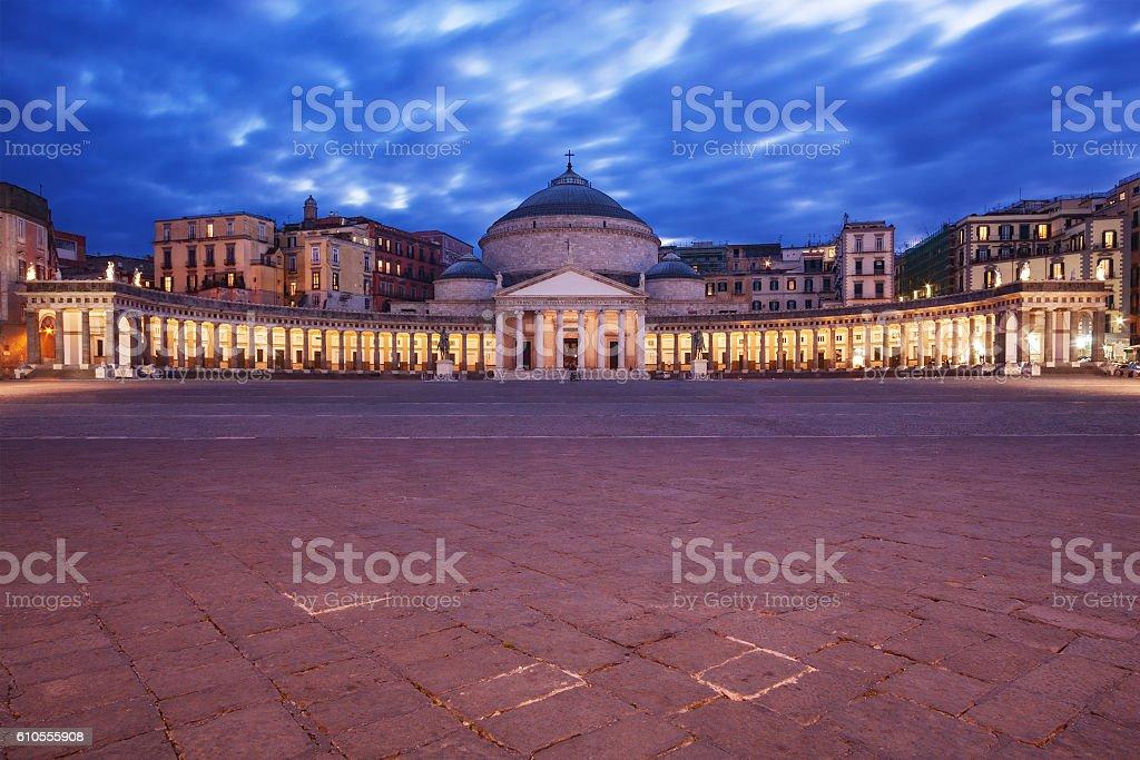 Piazza del Plebiscito, Naples stock photo