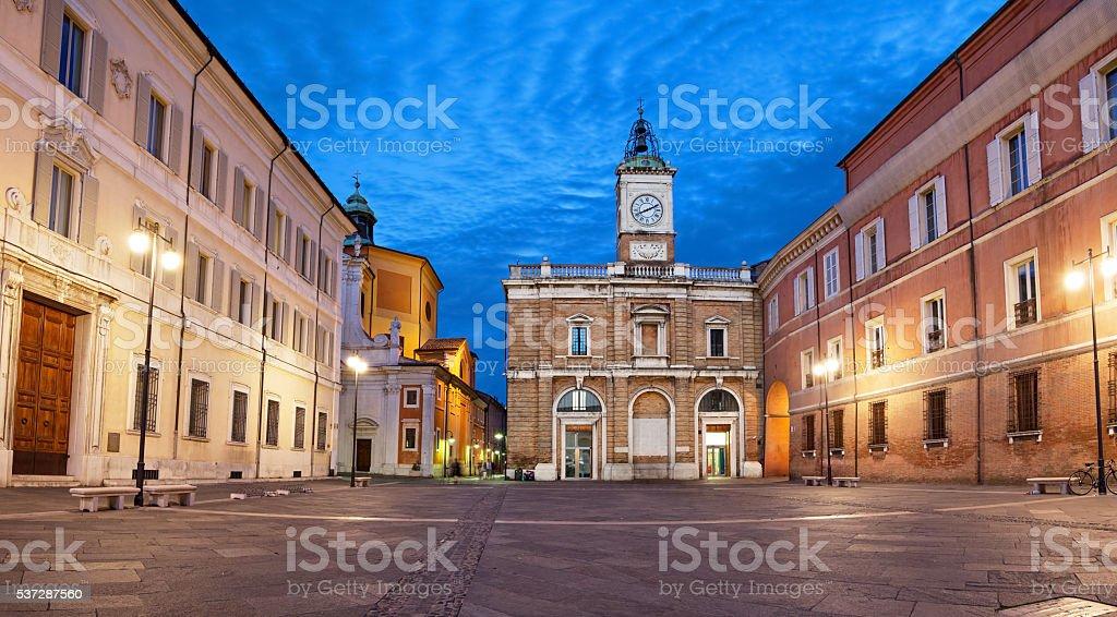 Piazza del Popolo in the evening, Ravenna stock photo