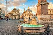 istock Piazza del Popolo (People's Square), Rome, Italy. Churches of Santa Maria in Montesanto and Santa Maria dei Miracoli. Egyptian obelisk of Ramesses II. Rome architecture and landmark. 1253403963