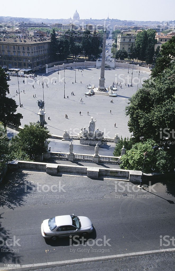 Piazza del Popolo, Rome, Italy, elevated view royalty-free stock photo