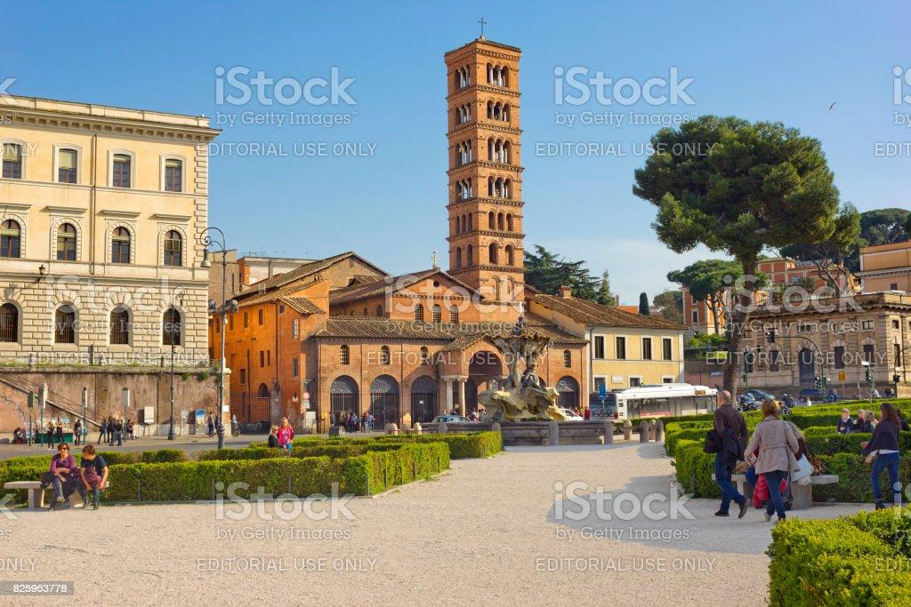 Piazza della Bocca della Verita with church Santa Maria in Cosmedin in Rome, Italy stock photo