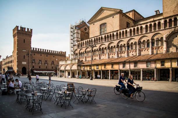Piazza della Cattedrale the central square of Ferrara, Italy stock photo