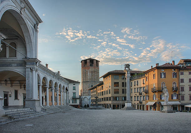 Piazza della Liberta in Udine,Italy at sunrise time. stock photo