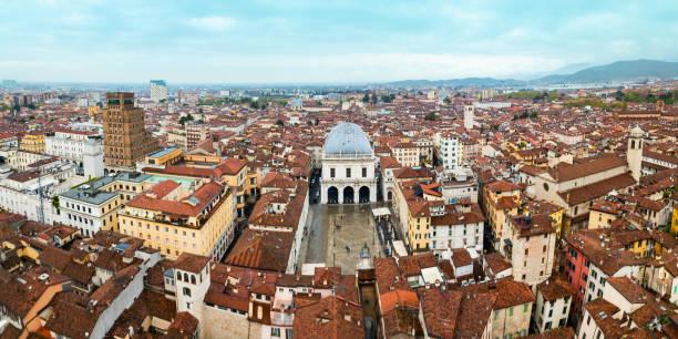 Piazza della Loggia aerial view, Brescia stock photo