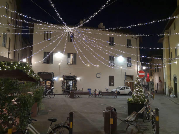 Piazza della Passera by night in Florence historical centre, Tuscany stock photo