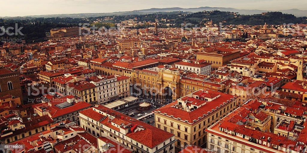 Piazza della Repubblica (Republic square) aerial view. Florence. stock photo