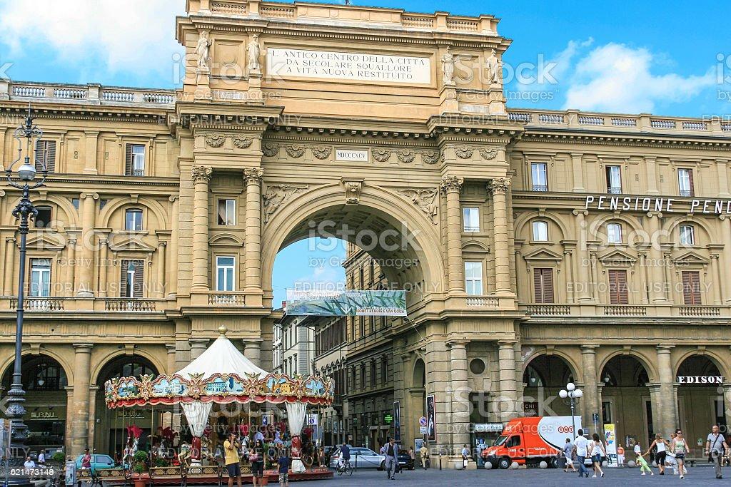 Piazza della Repubblica, Historic Arch and Blue Sky, Florence, Italy. stock photo