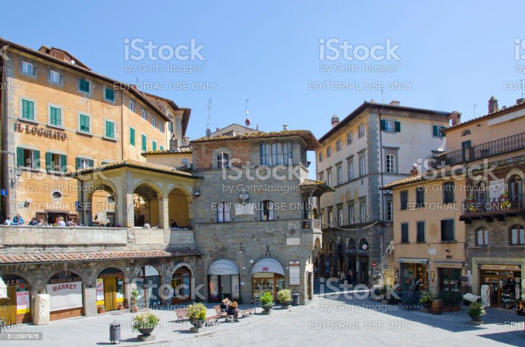 Piazza della Repubblica in Cortona, Italy stock photo