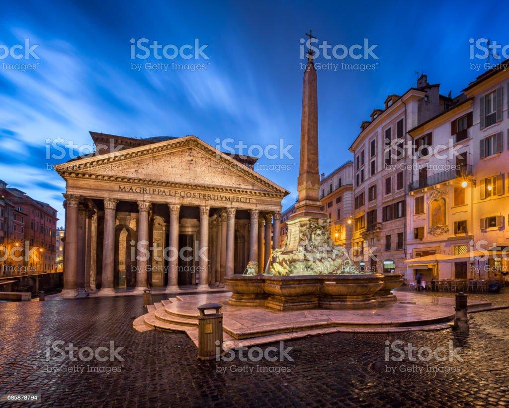 Piazza della Rotonda and Pantheon in the Morning, Rome, Italy stock photo