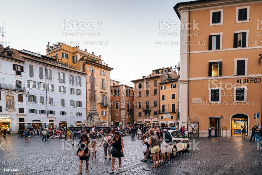 Piazza della Rotonda in historical city centre of Rome stock photo
