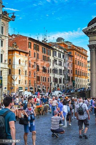 Rome, Italy - June 28, 2018:  Rotund Square (Piazza della Rotonda) and Pantheon Fountain ( Fontana del Pantheon) in Rome.