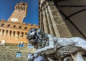 The lion, symbol of Florence from Loggia dei Lanzi in Piazza della Signoria