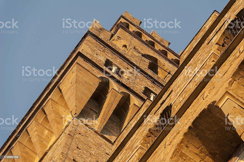 piazza della signoria at sunset in october royalty-free stock photo