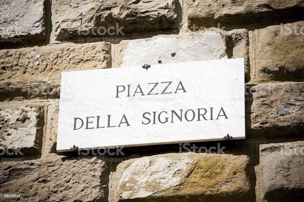 Piazza della Signoria-street-Schild Lizenzfreies stock-foto