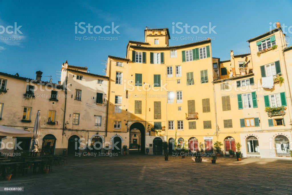 Piazza dell'Anfiteatro in Lucca, Italy stock photo