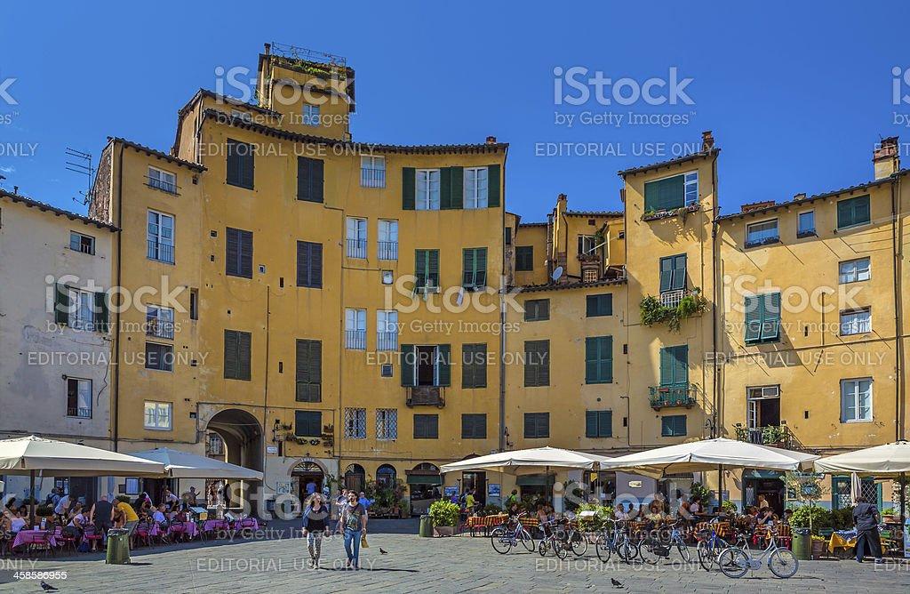 Piazza dell'Anfiteatro in Lucca, Tuscany stock photo