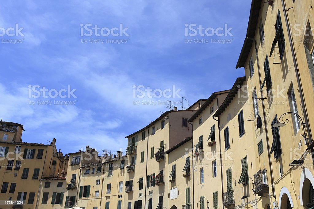 Piazza dell'Anfiteatro in Lucca,Tuscany Italy stock photo