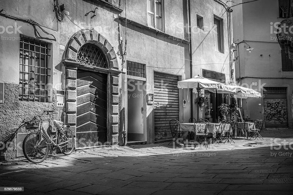 Piazza dell'Anfiteatro, Lucca, Tuscany, Italy. stock photo