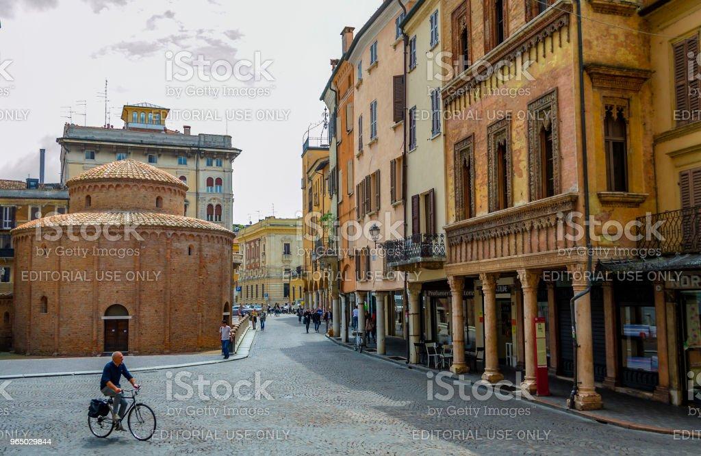 Piazza delle Erbe and the Rotonda di San Lorenzo in Mantua (Lombardy, Italy). royalty-free stock photo