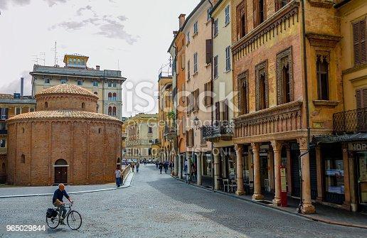 Piazza Delle Erbe And The Rotonda Di San Lorenzo In Mantua Stock Photo & More Pictures of Arcade