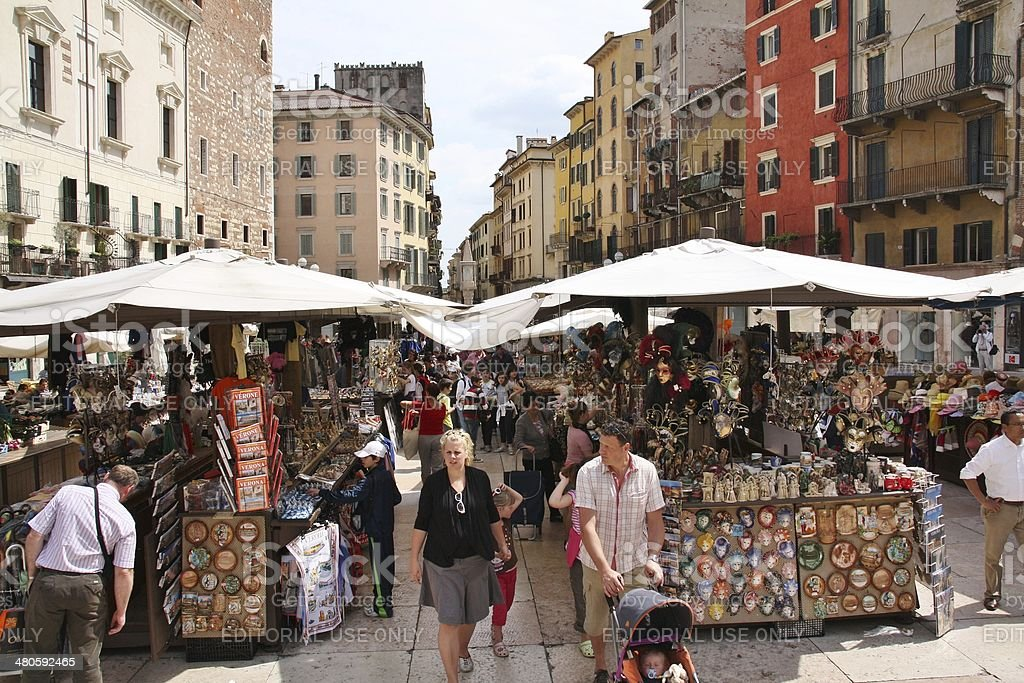 Piazza delle Erbe, Verona, Italy royalty-free stock photo