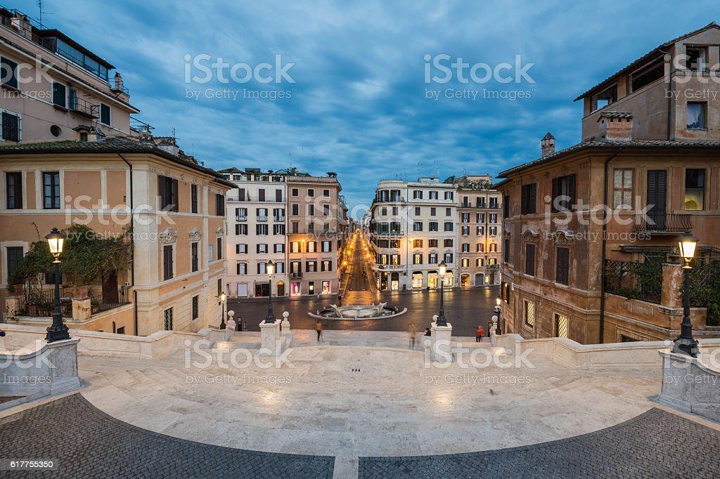 Piazza di Spagna and Via Condotti from Trinita dei Monti stock photo