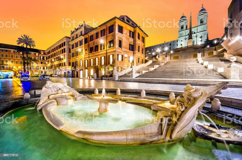 piazza di spagna roma rome spanish steps Scalinata di Trinità dei Monti orange sky stock photo
