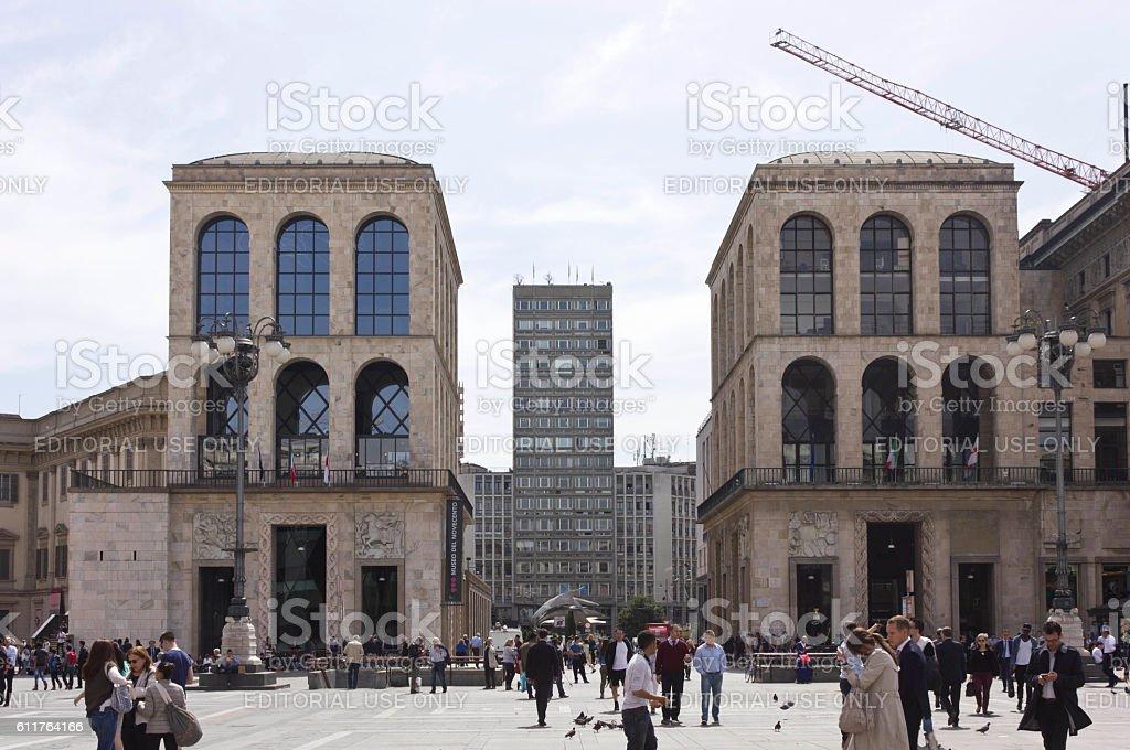 Piazza Diaz Skyscraper and Museo del 900 stock photo