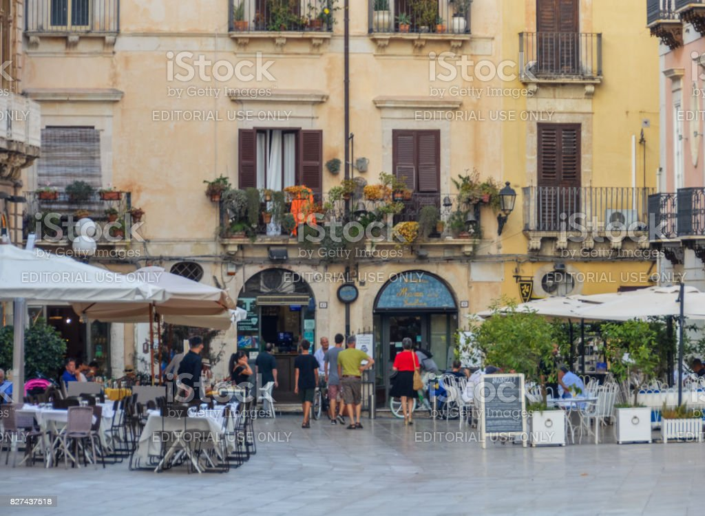 Piazza Duomo and cathedral in Syracuse, Sicily, Italy stock photo