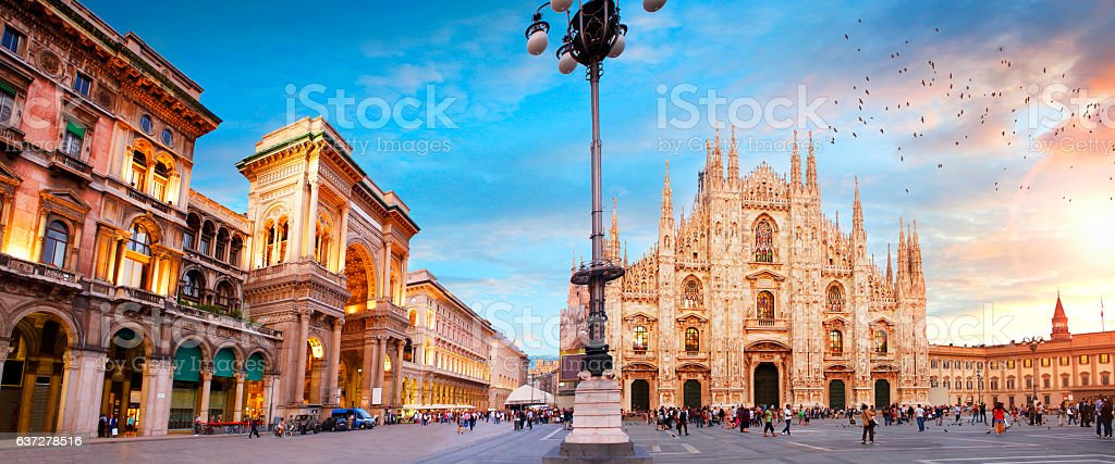 Piazza Duomo in Milan stock photo