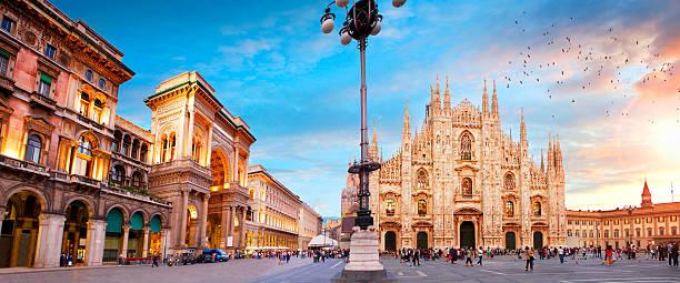 Piazza Duomo in Milan stock photo