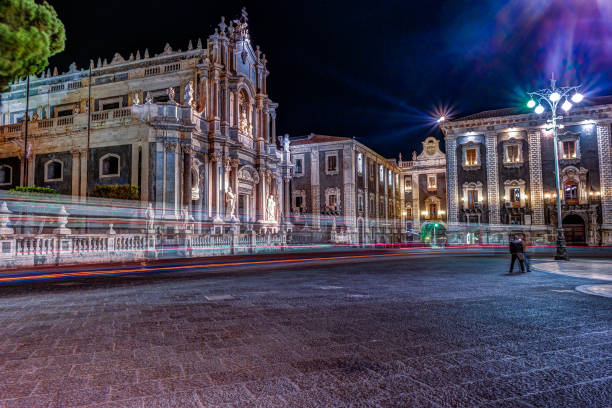 Piazza Duomo with Cathedral of Santa Agatha in Catania in Sicily, Italy Piazza Duomo or Cathedral Square with Cathedral of Santa Agatha, Catania duomo in Catania in Sicily, Italy. catania stock pictures, royalty-free photos & images
