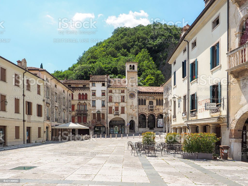 Piazza Flaminio in Vittorio Veneto town stock photo