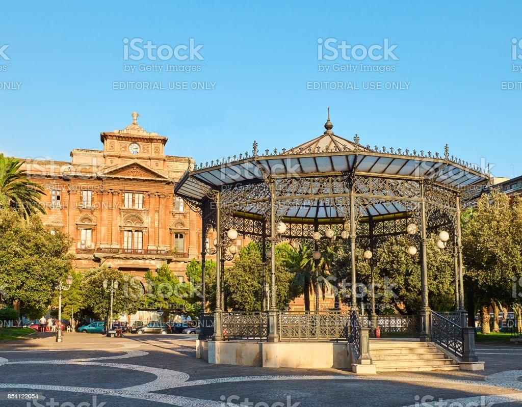 Piazza Garibaldi gardens in Taranto, Apulia, Italy. stock photo