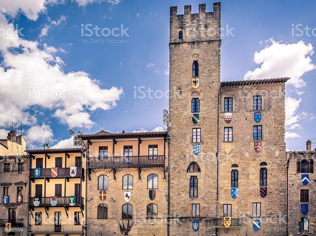 Piazza Grande in Arezzo city, Italy stock photo