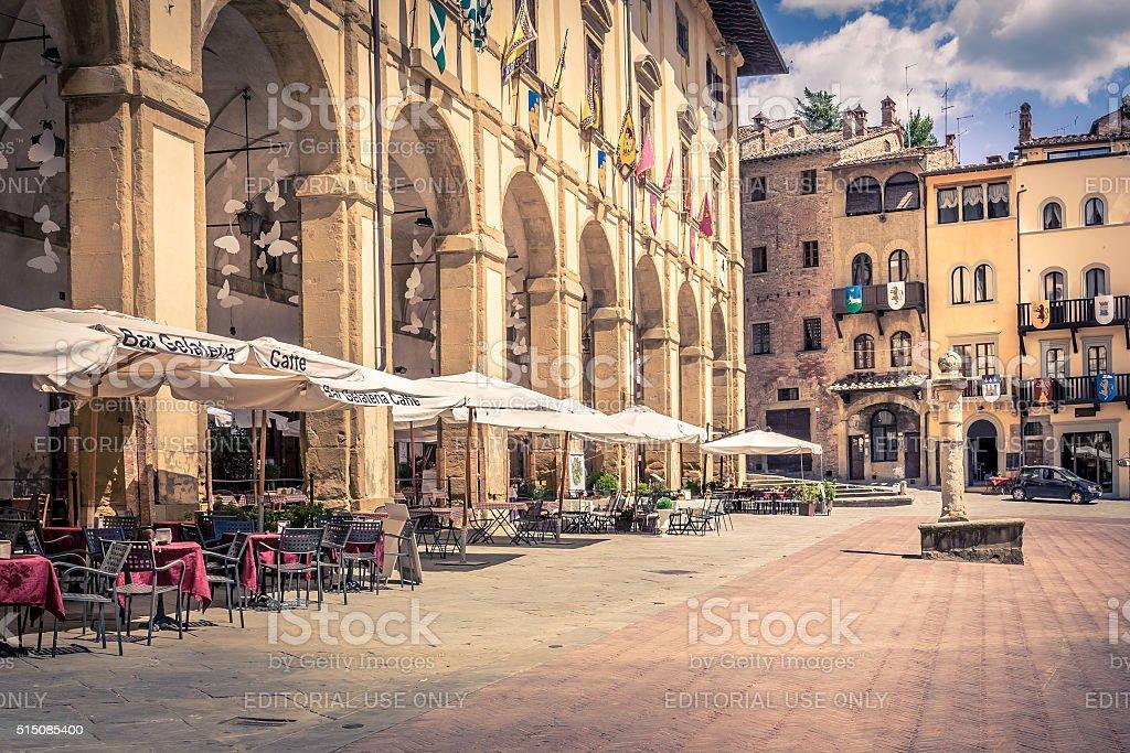 Piazza Grande ad Arezzo città, Italia - foto stock