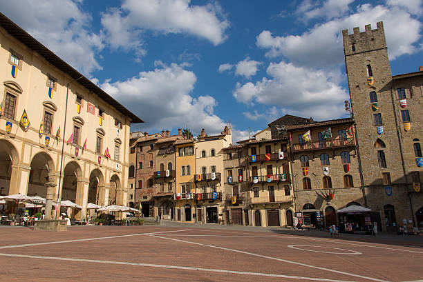 Piazza Grande in Arezzo View of the Piazza Grande in Arezzo. piazza grande stock pictures, royalty-free photos & images