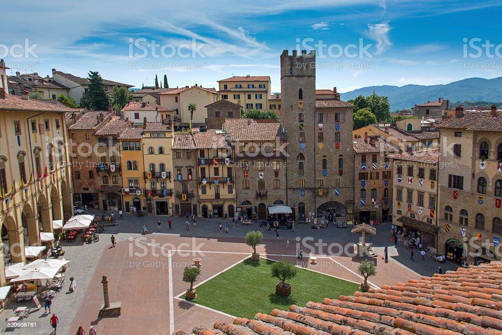 Piazza Grande in Arezzo View of the Piazza Grande in Arezzo. Architecture Stock Photo