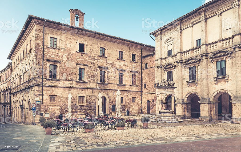 Piazza Grande in Montepulciano, Italy stock photo