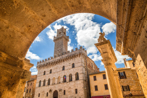 Piazza Grande, a main square in Montepulciano. Piazza Grande, a main square in Montepulciano, a town in the province of Siena in the Val d'Orcia in Tuscany, Italy, Europe. pienza stock pictures, royalty-free photos & images