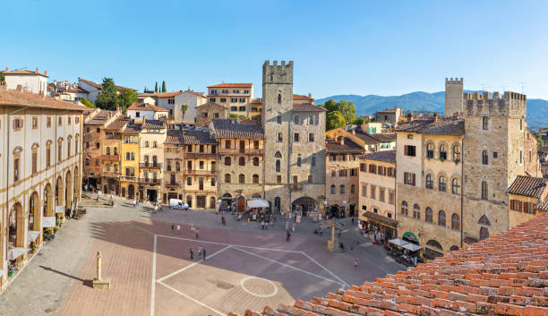 Piazza Grande square in Arezzo, Italy Panoramic aerial view of Piazza Grande square in Arezzo, Tuscany, Italy piazza grande stock pictures, royalty-free photos & images