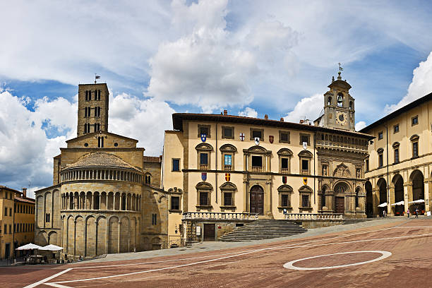 Piazza Grande square in Arezzo  piazza grande stock pictures, royalty-free photos & images