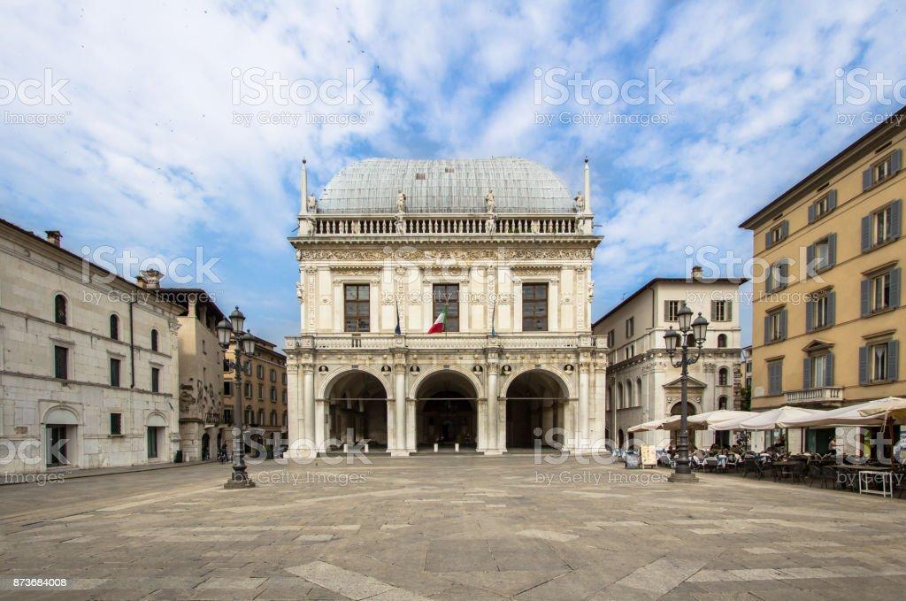 Piazza Loggia in Brescia, Italy - foto stock