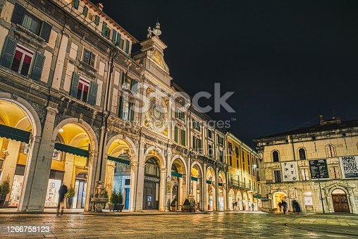 Brescia, Italy - January 13 2018  Piazza Loggia (Loggia Square) with its colonnade or arcade is the major renaissance square in Brescia sadly famous for a bombing attack against anti facist protesters