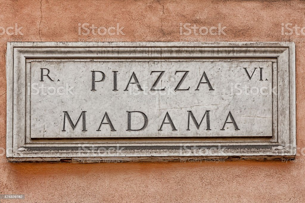 Piazza Madama street sign in Rome, Italy stock photo