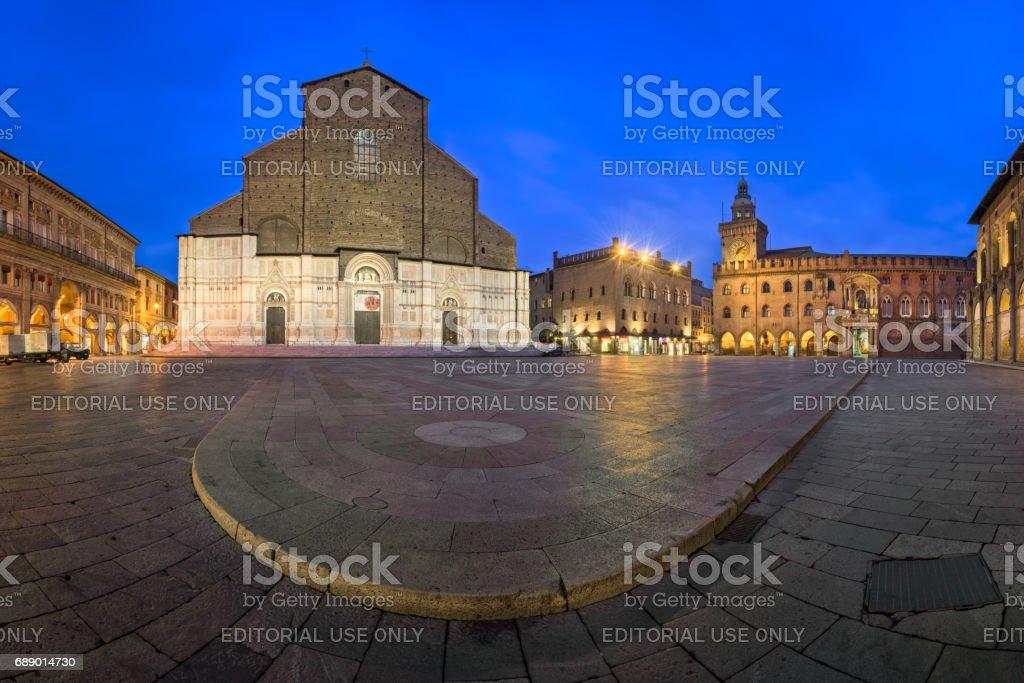 Piazza Maggiore and San Petronio Basilica in the Morning, Bologna, Emilia-Romanga, Italy stock photo