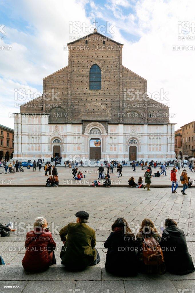 Piazza Maggiore, Bologna, Italy stock photo