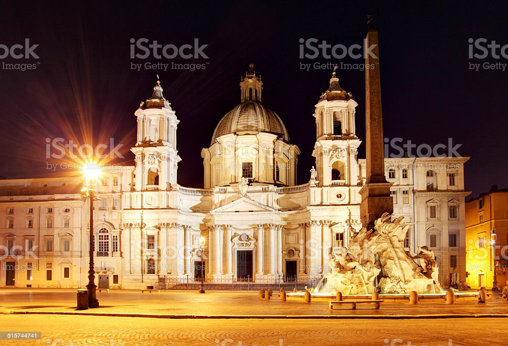 Piazza Navona at dusk. Rome, Italy. stock photo